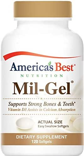 America's Best Nutrition Mil-Gel Milk Calcium Plus Vitamin D3-120 Easy-Swallow Softgels - Made in USA - GMP Quality Assured - Satisfaction Guaranteed