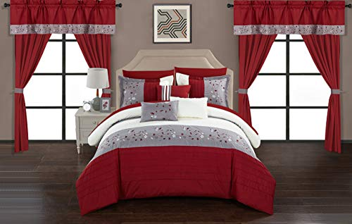 Chic Home Sonita 20 Piece Comforter Set Color Block Floral Embroidered Bag Bedding-Sheets, King, Red
