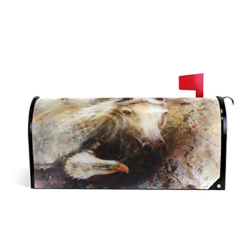 "ALAZA White Horse with A Flying Eagle Mailbox Cover Standard Size-18""x 20.8"""