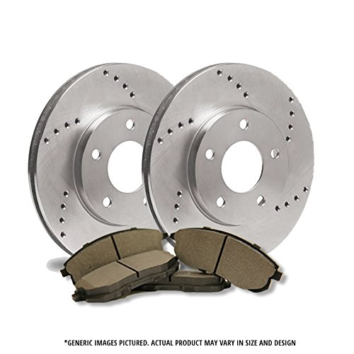 (Rear Kit)2 Heavy Duty Cross Drilled Extra-Life Premium Disc Brake Rotors + 4 Semi-Metallic Pads(6lug)-Combo Brake Kit