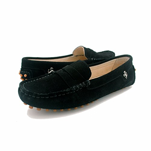 Loafers Comfortable Women Black Bow Driving Leather Moccasins Flats Goeao Suede Slip on vwqdvp