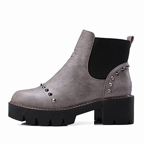 Latasa Womens Studded Platform Chunky Heels Ankle Chelsea Boots Gray qu1nVHdFzW