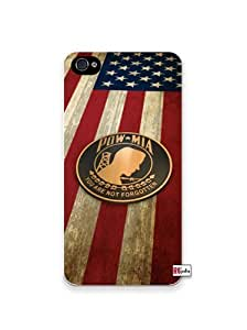 Pow MIA Prisoner Of War American Flag iPhone 4 Quality Hard Snap On Case for iPhone 4 4S 4G - AT&T Sprint Verizon - White Case Cover wangjiang maoyi