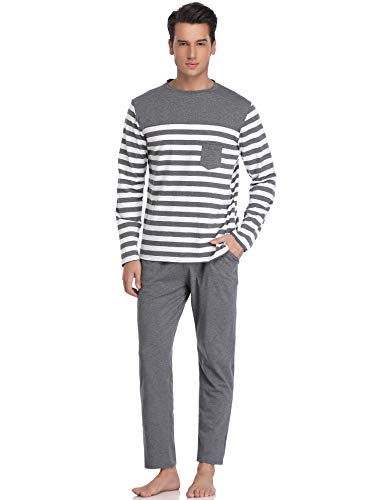 (Hawiton Men's Long Sleeve Pajama Pants Set Cotton Sleep Top & Bottoms Sleepwear)