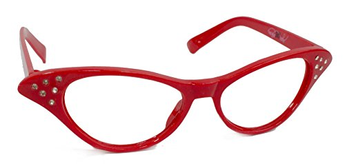 Hip Hop 50s Shop Womens Cat Eye Rhinestone Glasses, Red