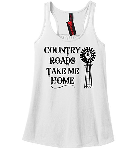 Comical Shirt Ladies Country Roads Take Me Home White - Womens Road Country
