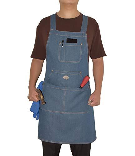 WLBHHL Durables - Chef, Kitchen, BBQ Men's and Women's Denim Apron, Towel or Hand Hammer Ring + Tool Pocket, Easy Belt Adjustable M to XXL (Light Blue)