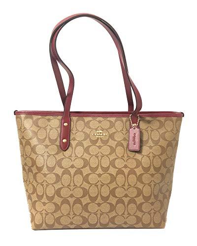 Coach Signature City Zip Tote Bag Handbag (IM/Khaki/Cherry)