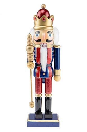 Clever Creations Wood Christmas King Nutcracker | Blue and Red Outfit and Holding Scepter | Festive Traditional Christmas Decor | Great for Any Collection | 10