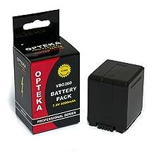 Opteka VW-VBG260 4000mAh Ultra High Capacity Li-ion Battery Pack for Panasonic HDC-SD9, HDC-HS9, HDC-SD5, HDC-SD1, HDC-SX5, HDC-DX1, SDR-H60, SDR-H40/41, SDR-H200, SDR-H18, VDR-D310, VDR-D50/51, VDR-D230, VDR-D220, VDR-D210, PV-GS500, PV-GS320, PV-GS85, PV-GS90 and PV-GS80 (Fully Compatible)