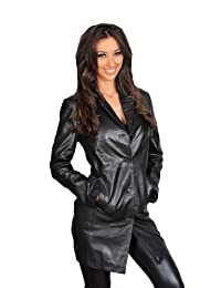 Ladies Real Leather Jacket Womens 3/4 Length Fitted Sheepskin Coat Rachel Black