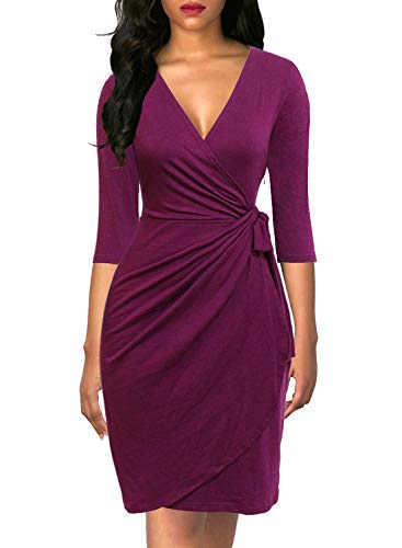 Berydress Women's Classic 3/4 Sleeve V Neck Night Out Casual Party Work Knee-Length Faux Wrap Dress (XL, 6083-Purple)