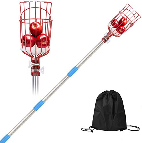 OBALY Fruit Picker Tool 8-Foot Fruit Picker with Light-Weight Aluminum Telescoping Pole Fruit Picking Equipment for Getting Apple Oranges and Fruits Tree (8)