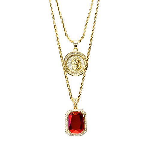 metaltree98 14k Gold Plated Medallion Jesus & Red Ruby 22