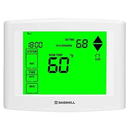 Saswell 7 Days Programmable Touch Screen Thermostat for Home, with Large Digital Display, Easy to Read, Dual Powered,3 Heat 2 Cool, SAS6000UTK-7.
