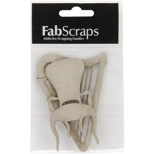 Collection Painted Brads (Fabscraps Die-Cut Chipboard Embellishment, Harp and Chair, 3.7 by)