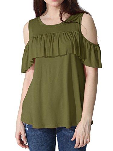 Henley Regatta (Prime Sale JayJay Women U-Neck Shoulder Off Ruffle Design Top Shirts,Khaki,XL)
