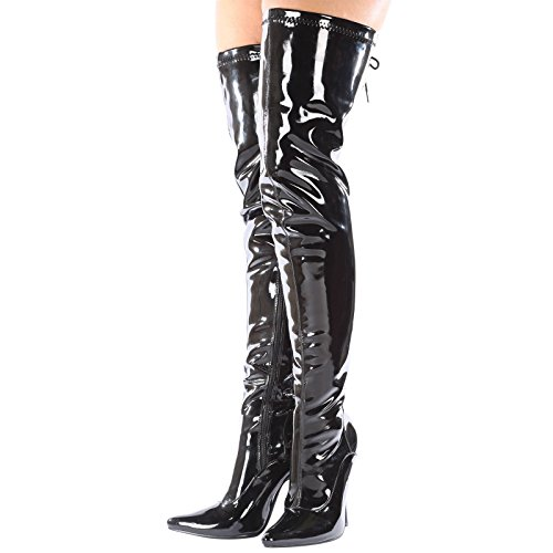 Thigh Fetish Hook Zip UK Heel Boots The Side Kinky Patent Womens 5 Sexy Over up Stiletto New Gizelle Ladies HIGH 12 Black 4 Lace Knee and Size Full Bn7I60qxH
