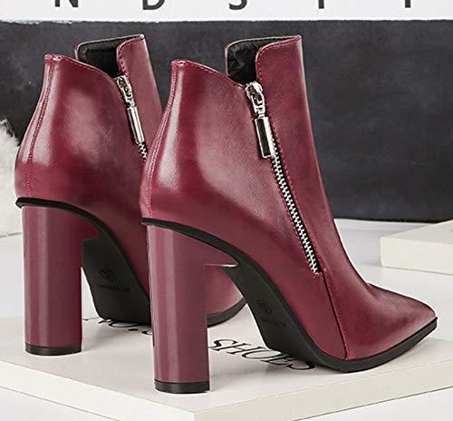 ... Montante Zip Mode Femme Easemax Bloc Chaussure Rouge Talon avec Bottines  Vineux BFtppHxw ... 9d66400e1f40