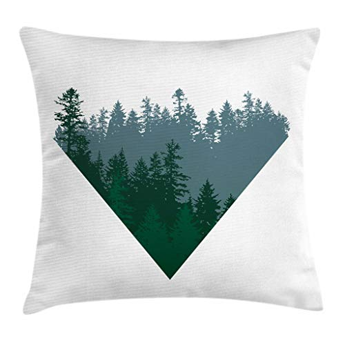 - Ambesonne Forest Throw Pillow Cushion Cover, Triangle Frame with Coniferous Tree Silhouettes Modern Geometric, Decorative Square Accent Pillow Case, 18 X 18 Inches, Slate Blue Dark Green White