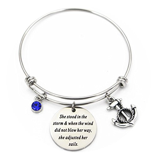 Perseverz Anchor Bracelet for Women She Stood in The Storm Adjusted Her Sails Nautical Good Luck Gifts
