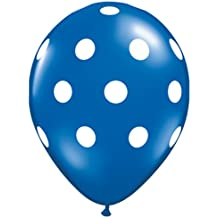 """Navy with White Polka Dot 11"""" Latex Balloons (6 count) Adult"""