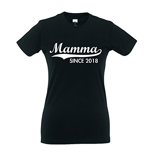 Babloo T-Shirt Mother's Day Donna Idea Regalo Festa della Mamma Mamma Since 2018 Nera