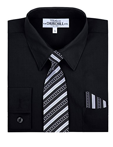 S.H. Churchill & Co. Toddler Boy's Dress Shirt & Tie - Black, 3T by S.H. Churchill & Co. (Image #1)
