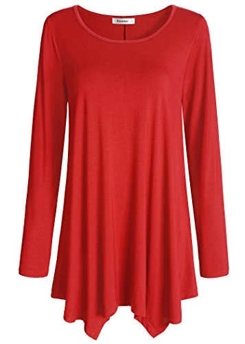 Esenchel Women's Long Sleeve Tunic Top for Leggings Flared Shirt XL Red