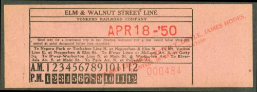 (Yonkers Railroad Co Elm & Walnut St Line transfer 1950 )