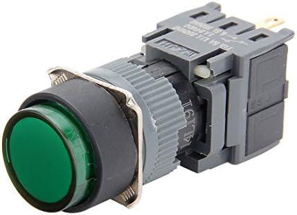 uxcell 押しボタンスイッチ ラッチング 4端子 AC250V 0.5A SPDT NO NC ラウンドヘッド グリーン