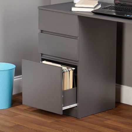 Como Writing Desk,White/Gray/Number of drawers: 3 by TMS 97007BLK