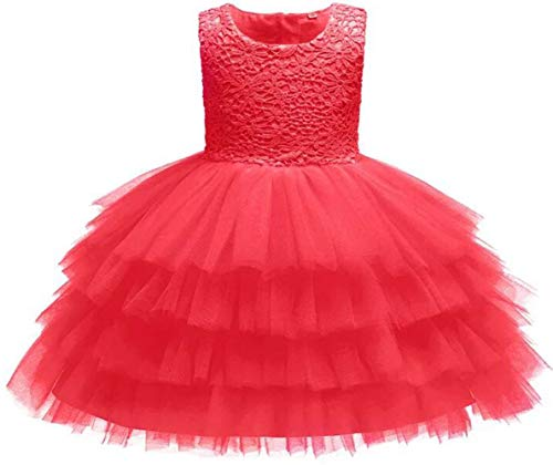 Baby Girl Dresses Crochet Lace Ruffles Pageant Wedding Party Flower Girl Red Dresses 18-24 Months -