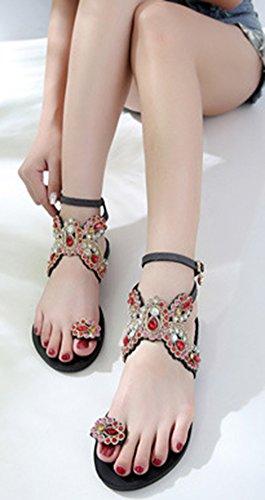 Bohémien Chic Diamants Aisun Sandales Multicolores Orteil Plage Noir Femme PqExa
