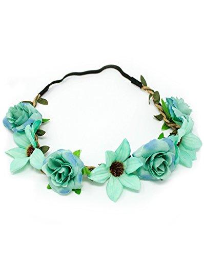Bachette Flower Crown For Bride and Bridesmaid Bachelorette Floral Headband Flower Wreath (Head Not Mint)