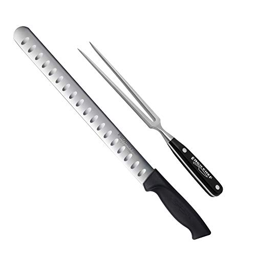 2 piece Prodigy 12 inch Slicer and Pro Series Carving Fork Set by Ergo Chef
