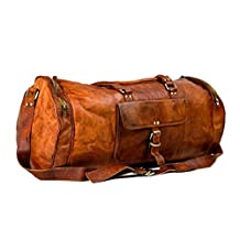 Leather Saddler 24 Inch Round Barrel Duffel Travel Gym Overnight Weekend Leather Bag