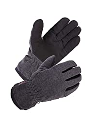 SKYDEERE Winter Gloves with Warm Deerskin Leather Suede and Thick Windproof Polar Fleece (SD8662T/L)