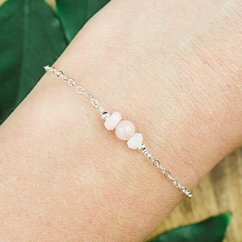 Dainty crystal pink peruvian opal bracelet in 925 sterling silver - 6