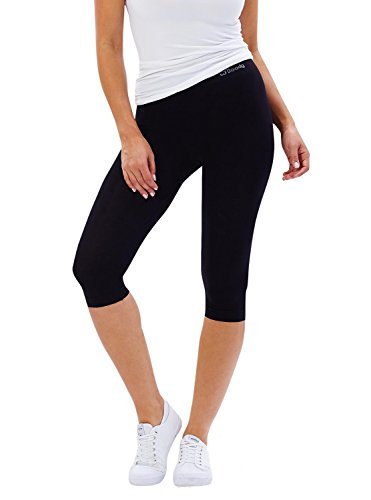 Boody EcoWear Women's Crop Leggings – Capri Short Tight Made from Natural Organic Bamboo Viscose - Soft Breathable Eco Fashion for Sensitive Skin - Black, Small