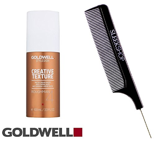 Goldwell Style Sign Creative Texture RoughMan 4 Matte Cream Paste - 3.3 oz (with Sleek Steel Pin Tail Comb)