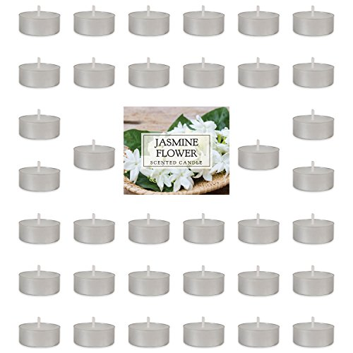 - Home Traditions Highly Scented Tealight Candle (Pack of 36) For Home Décor, Wedding, Party, Holiday, Spa & Aromatherapy - Jasmine Flower