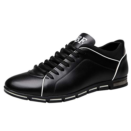 Men's Fashion Solid Shoes Classic Refined Leather Business Casual Sports Running Comfort Flat Round Shoes Plus Size 38-48