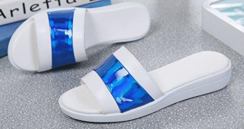 Plates Multicolore Mules Bleu Aisun Mode Ouvert Bout Femme Simple Xq7w76R