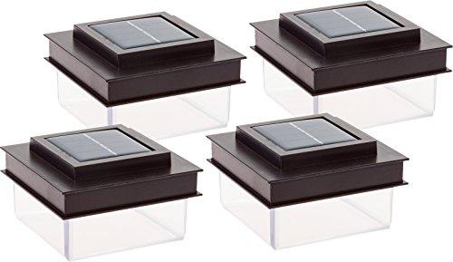 GreenLighting Translucent 12 Lumen LED Solar Powered Post Cap Light for 4x4 Wood Posts (4 Pack, Dark Brown)