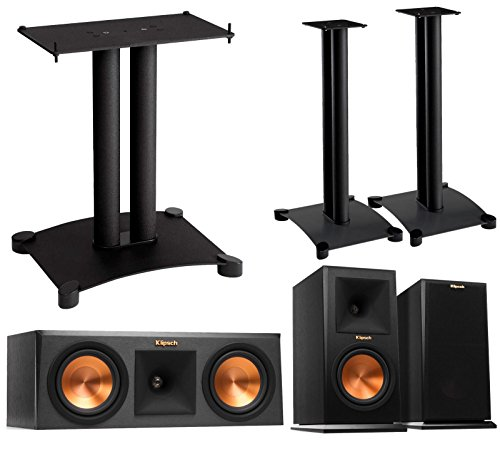 Price comparison product image Klipsch Reference Premier 3.0 Speaker System With Stands (1 Pair RP160M Bookshelf Speakers,  1 Pair Sanus SF26B1 Bookshelf Stands,  1 RP250C Center Speaker,  1 Sanus SFC18B1 Center Stand) - Ebony
