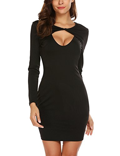 Yitrend Women Sexy Open Front Long Sleeve Stretch Bodycon Party Bandage Dresses