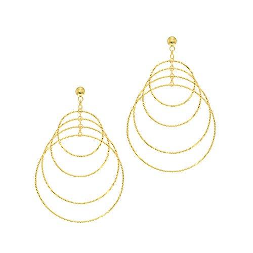 Aleksa Ladies 14K Yellow Gold Shiny Diamond Cut 4 Graduated Circle Fancy Drop Earrings Graduated Circle Earrings