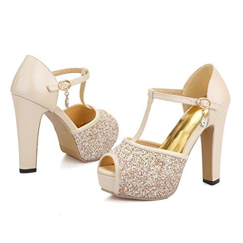 Zapatos Correa Brillantes Beige Tobillo con Tacon Mujer Tacon Plataforma Boda UH Ancho Peep de Toe de Sandalias wUZSxaPqR