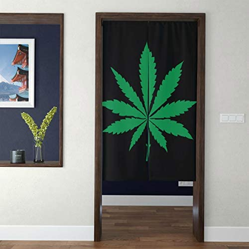 JXCSGBD Door Tapestry Japanese Girl Curtains for Bedroom Marijuana Leaf of Cannabis 3D Print Wide Doorway Curtains Boys Curtains for Bedroom for Home Decor Long Style
